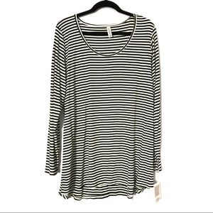 Black and white striped lynnae top